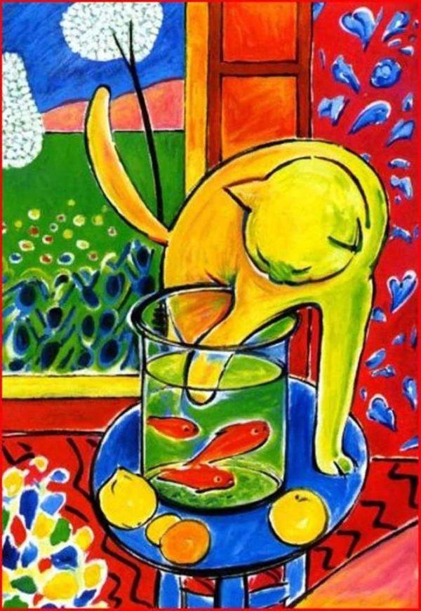 """""""Котка с червена риба"""" на Анри Матис – репродукция с акрилни бои"""