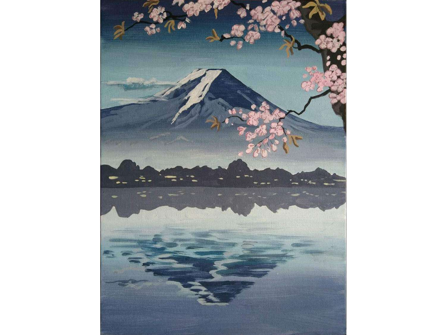 """Релаксиране с чаша вино и рисуване на репродукция по картината """"Свещената планина Фуджи"""" 13.03.2020 г."""