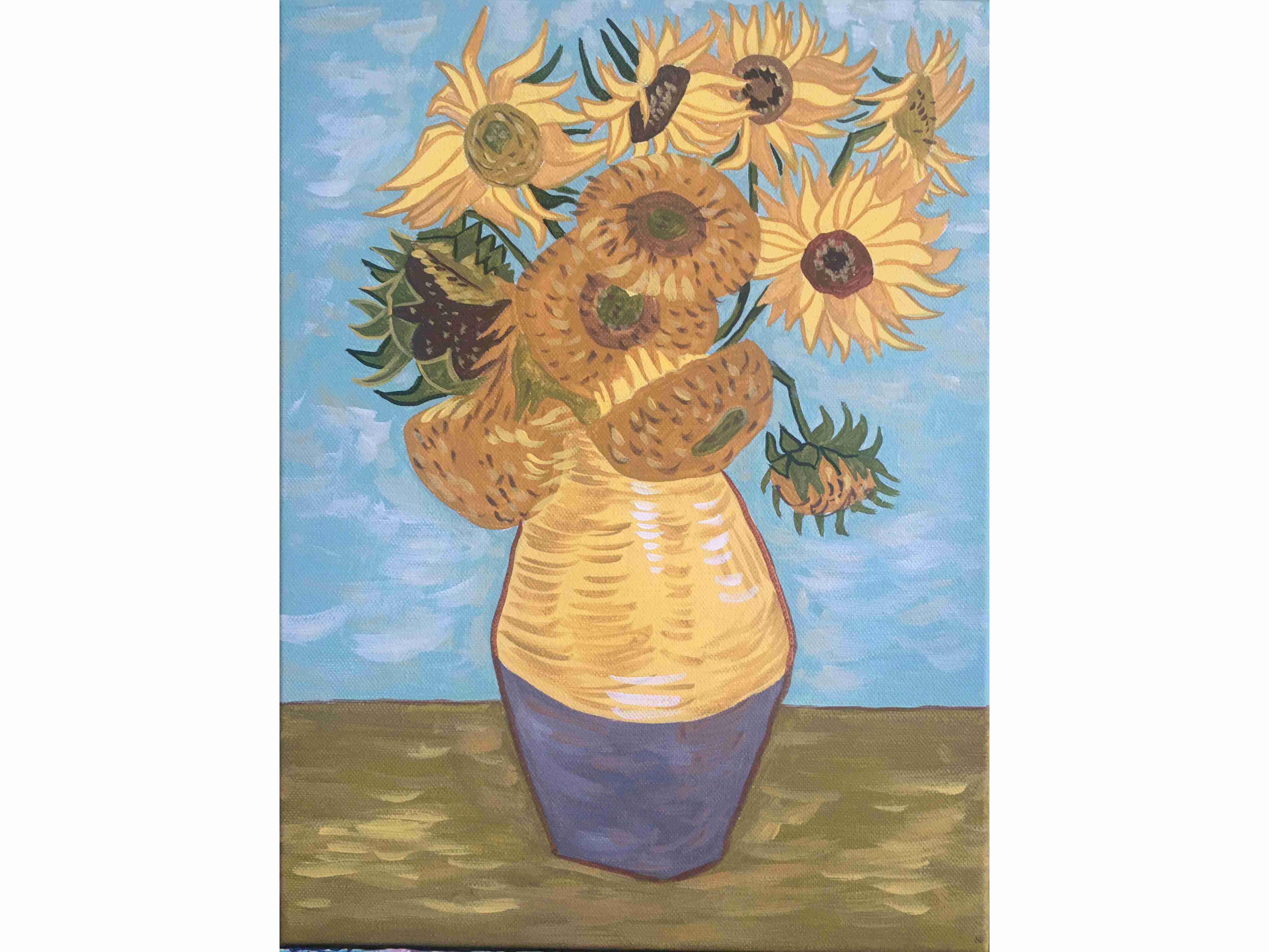 """Релаксиране с вино и рисуване на репродукция на """"Слънчогледите""""на Винсент Ван Гог 07.03.2020 г."""