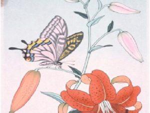 """Японска живопис """"Пеперуда"""""""
