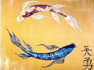"Японска живопис ""Риби – Кои"""