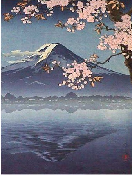 """Японска живопис """"Свещената планина Фуджи"""""""
