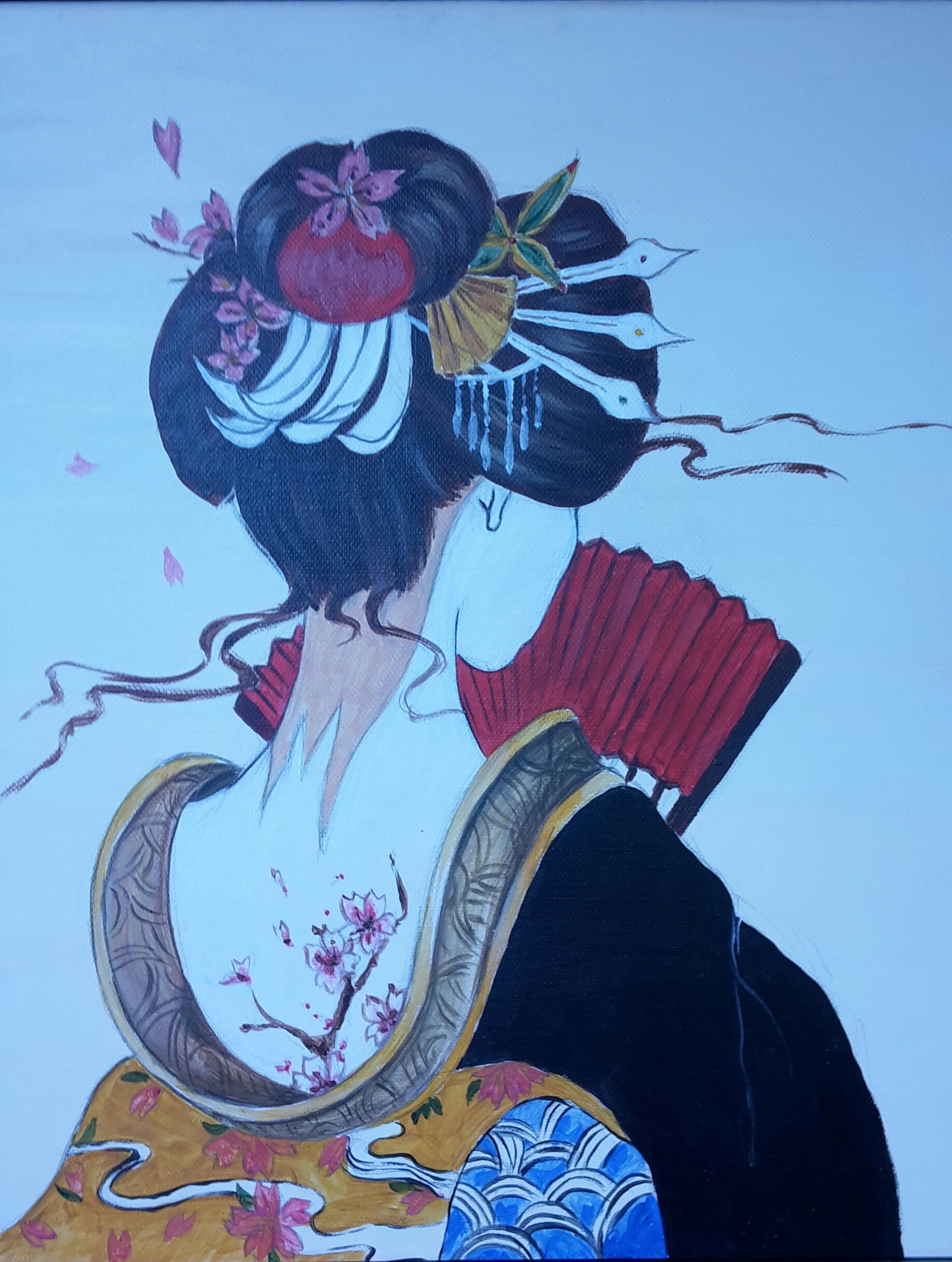 """Японска живопис """"Гейша"""" – рисуване за начинаещи и любители 05.04.2019"""