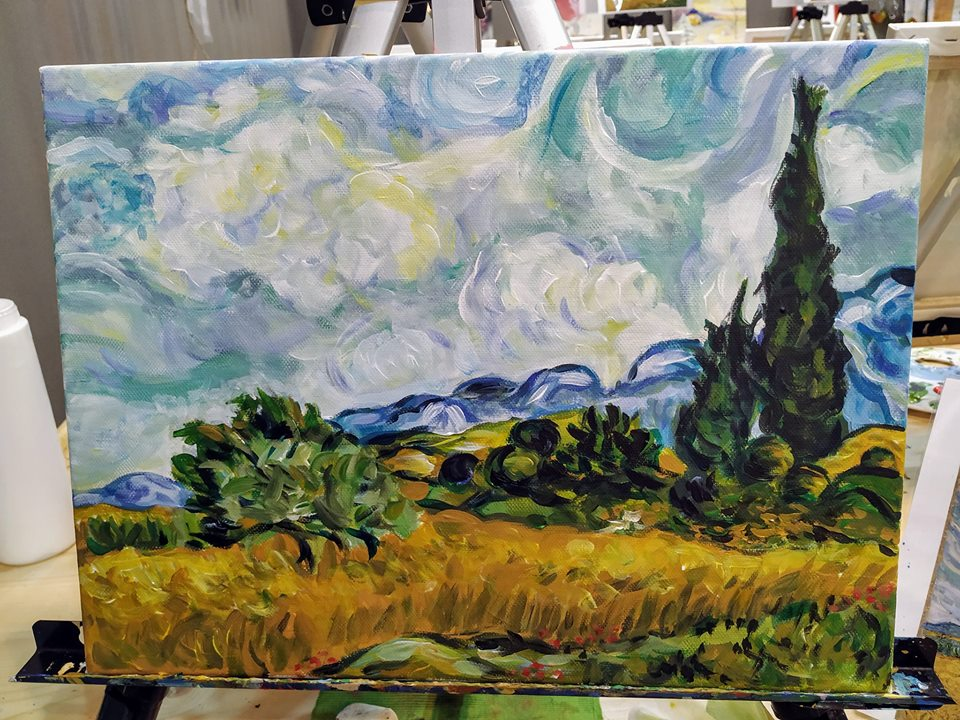 Винсент Ван Гог Житно поле с кипариси (11)