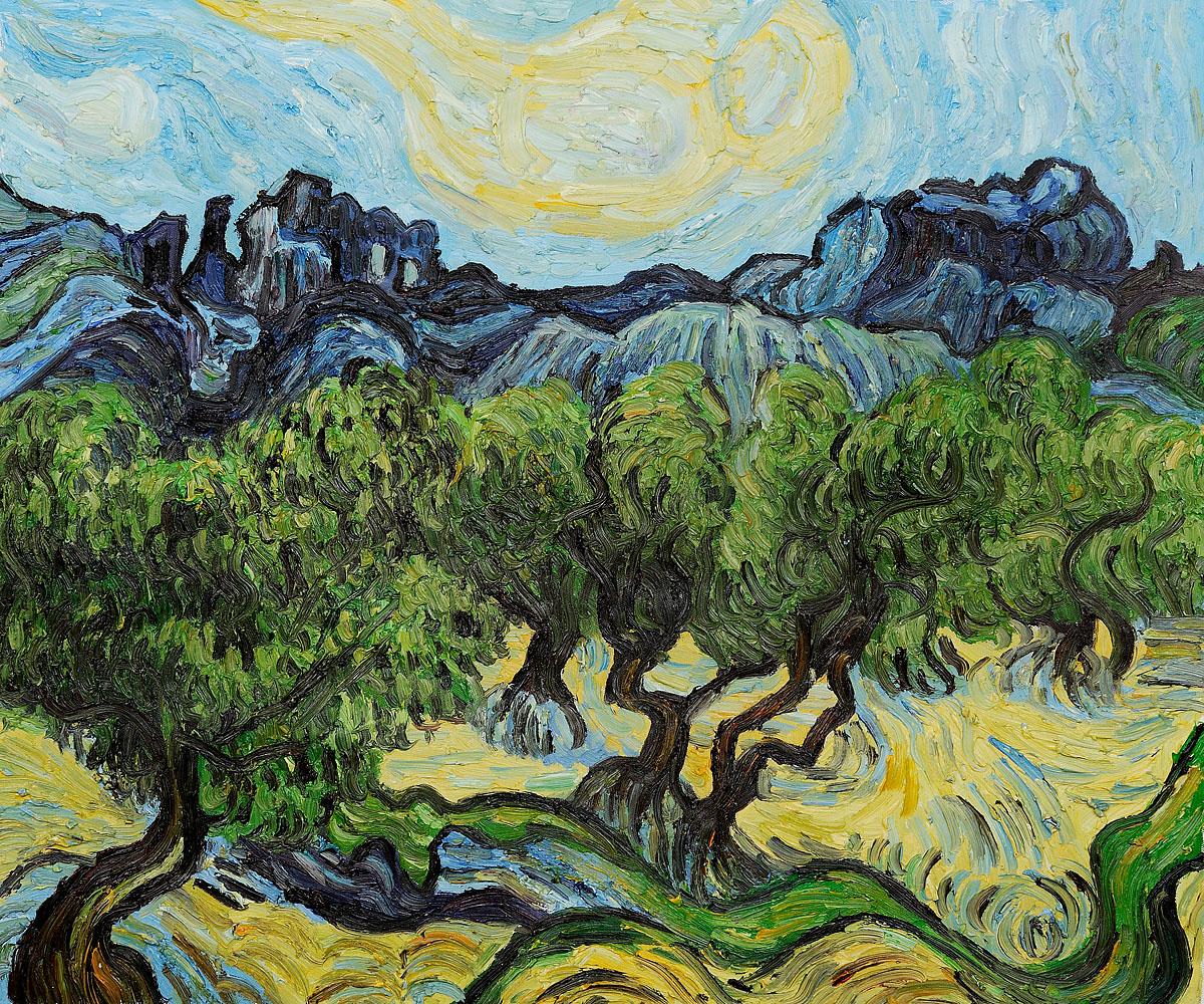 """Рисуване и забавление """"Маслинови дървета"""" Винсент ван Гог акрилни бои 15.05.2019 г."""