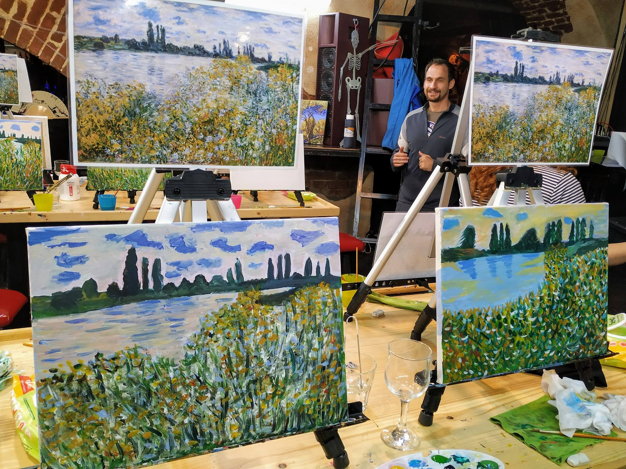"""""""Цветните брегове на Сена близо до Ветюил"""" на Клод Моне – репродукция с акрилни бои"""