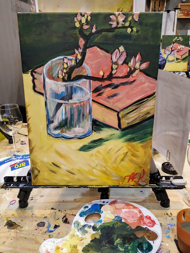 Винсент Ван Гог Бадемов цвят в чаша с книга (16)
