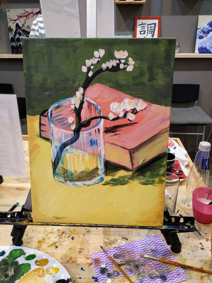 Винсент Ван Гог Бадемов цвят в чаша с книга (19)