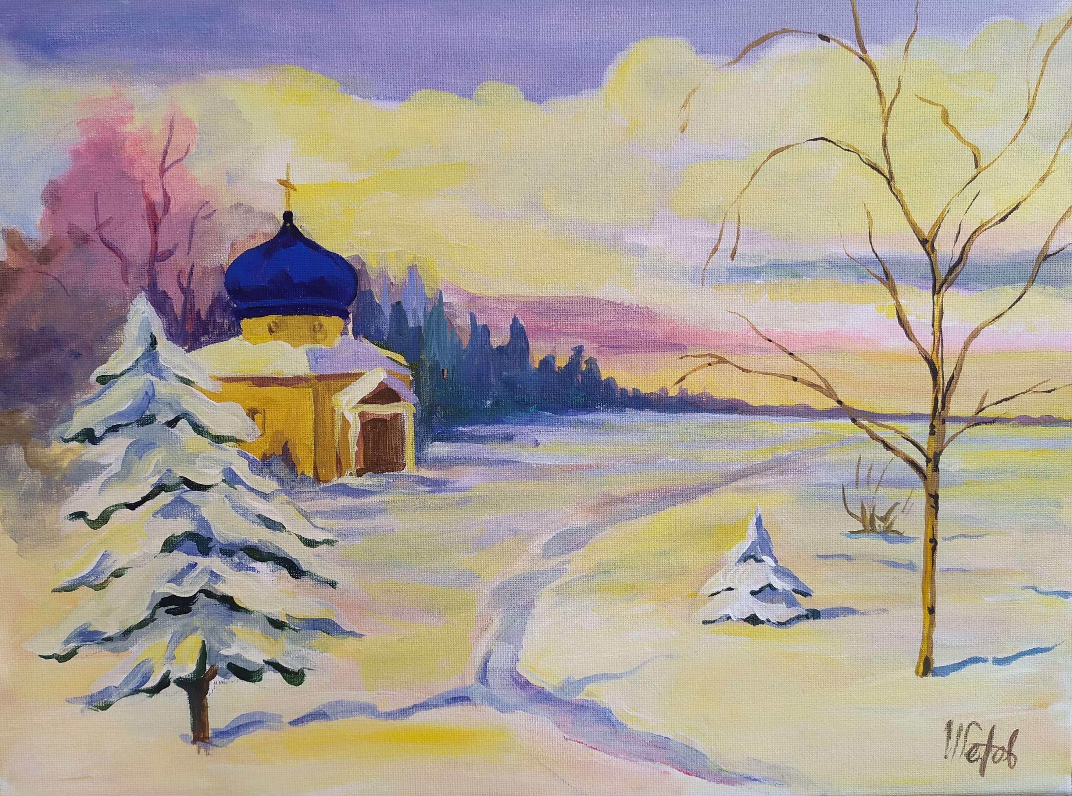 """Коледа с чаша вино и рисуване с акрил  """"Зимен пейзаж"""" Олга Александровна  17.12.2020 г."""
