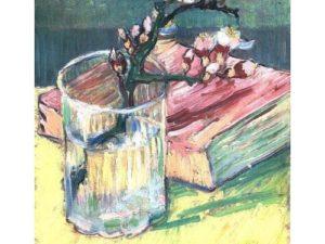 """Бадемов цвят в чаша с книга"" Ван Гог"