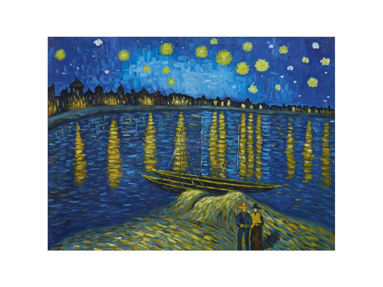 """Вино, забавление и рисуване с акрил """"Звездна нощ над Рона"""" Винсент ван Гог 01.10.2021 г."""