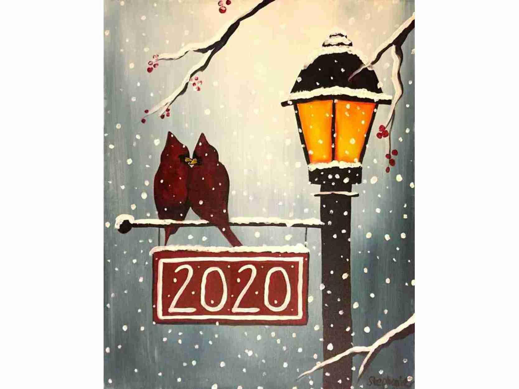 """Коледа с чаша вино и рисуване с акрил """"Под снега"""" 12.12.2020 г."""