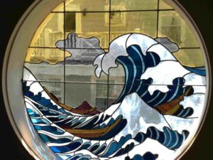 """рисуване върху стъкло """"Голямата вълна на Канагава"""""""
