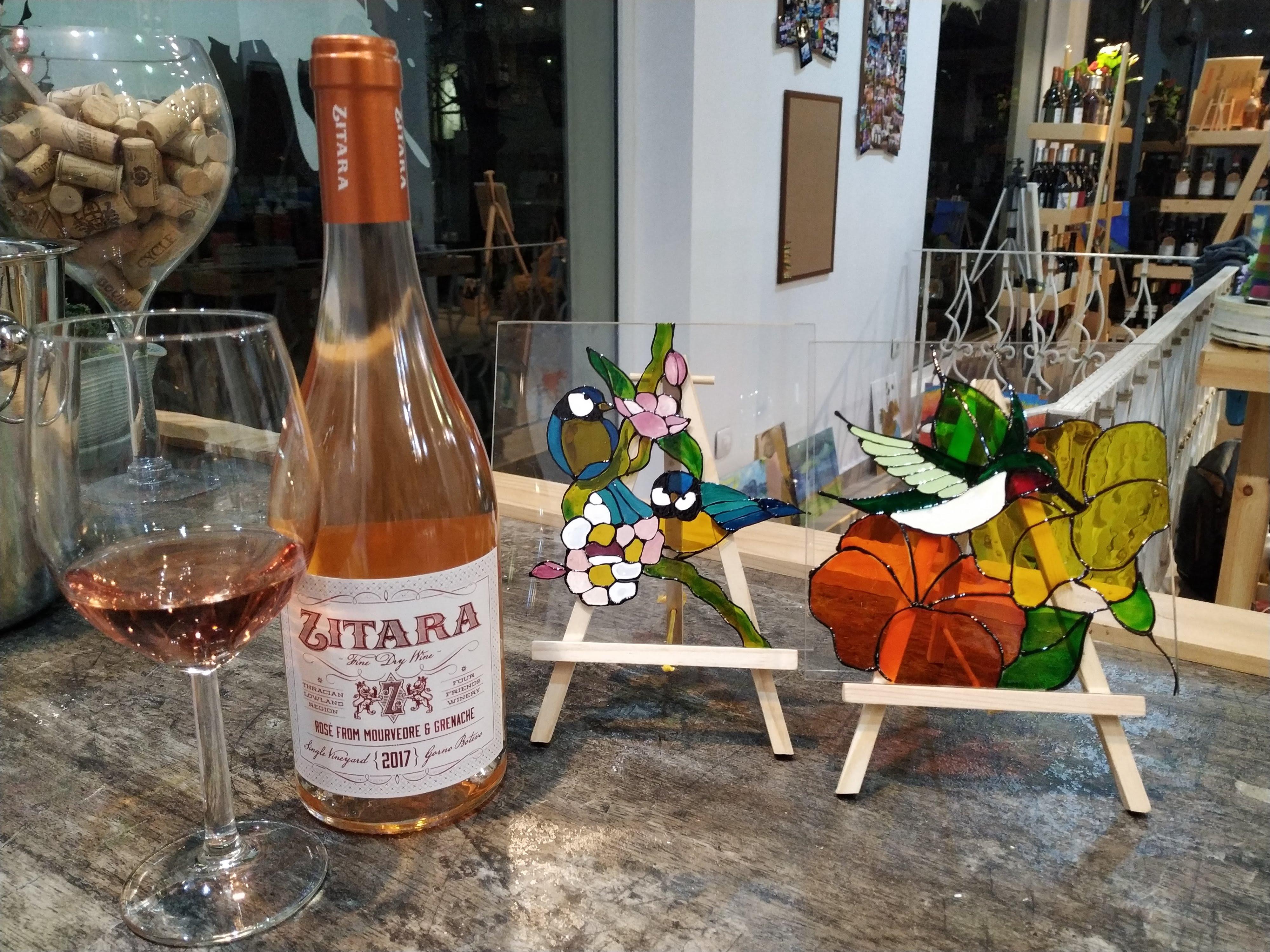 """Стъклопис """"Цветя и птици"""" и вино """"Zitara"""" за начинаещи и любители 09.04.2019 г."""