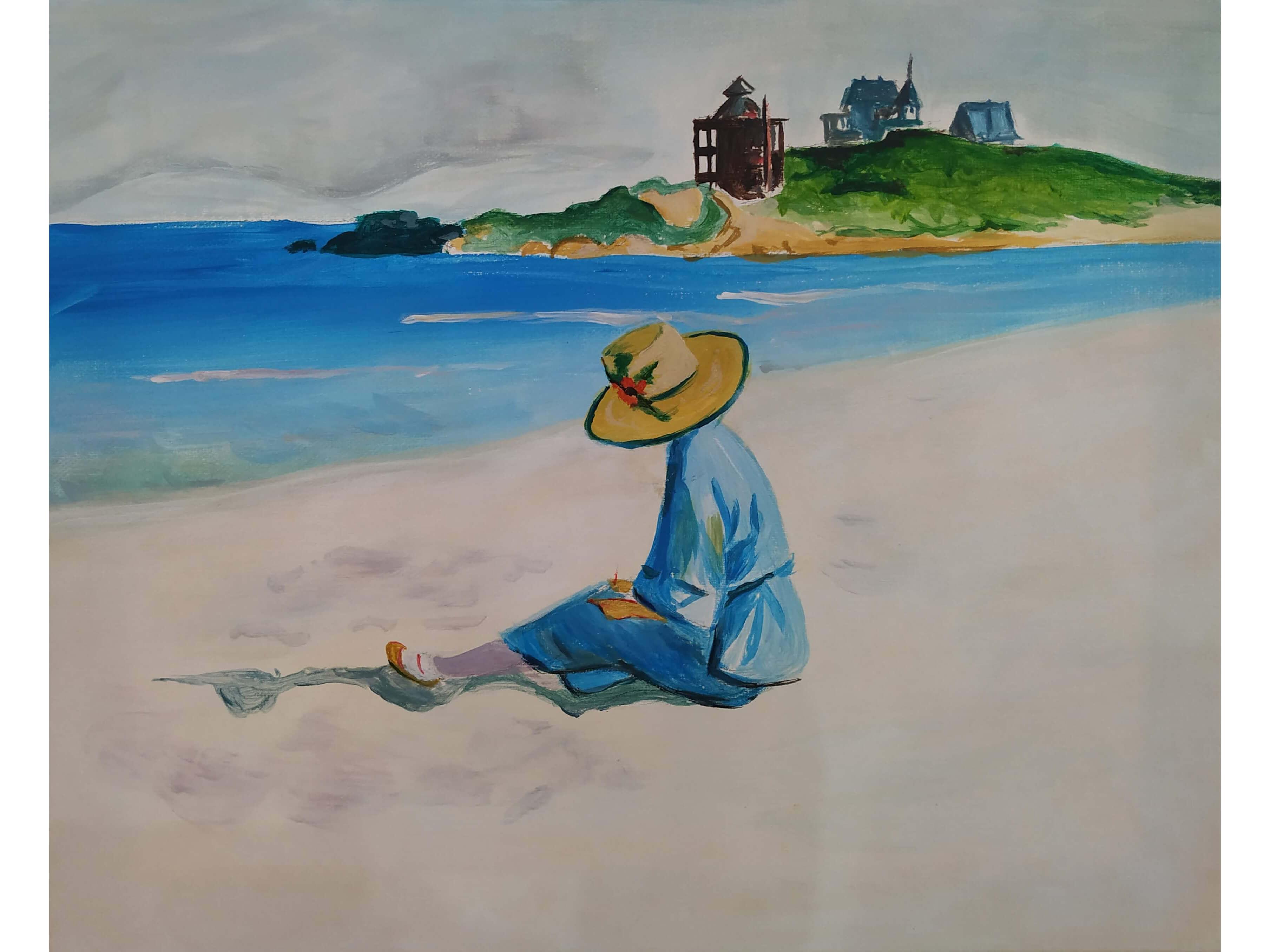 """Релаксиране с чаша вино и рисуване на репродукция по картината """"Джо скицира на плажа""""  Едуард Хопър – 09.08.2019 г."""