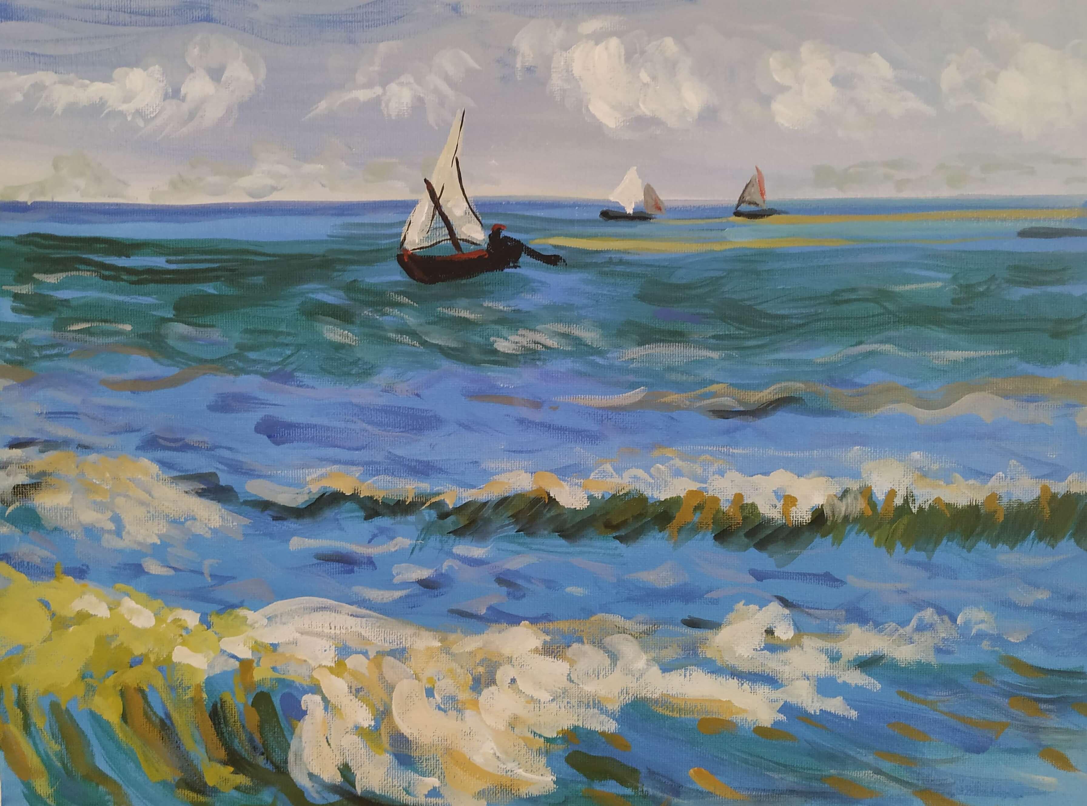 """Вино, забавление и рисуване с акрил  """"Морски пейзаж близо до Сен Мари де ла Мер"""" на Винсент Ван Гог 31.03.2021 г."""