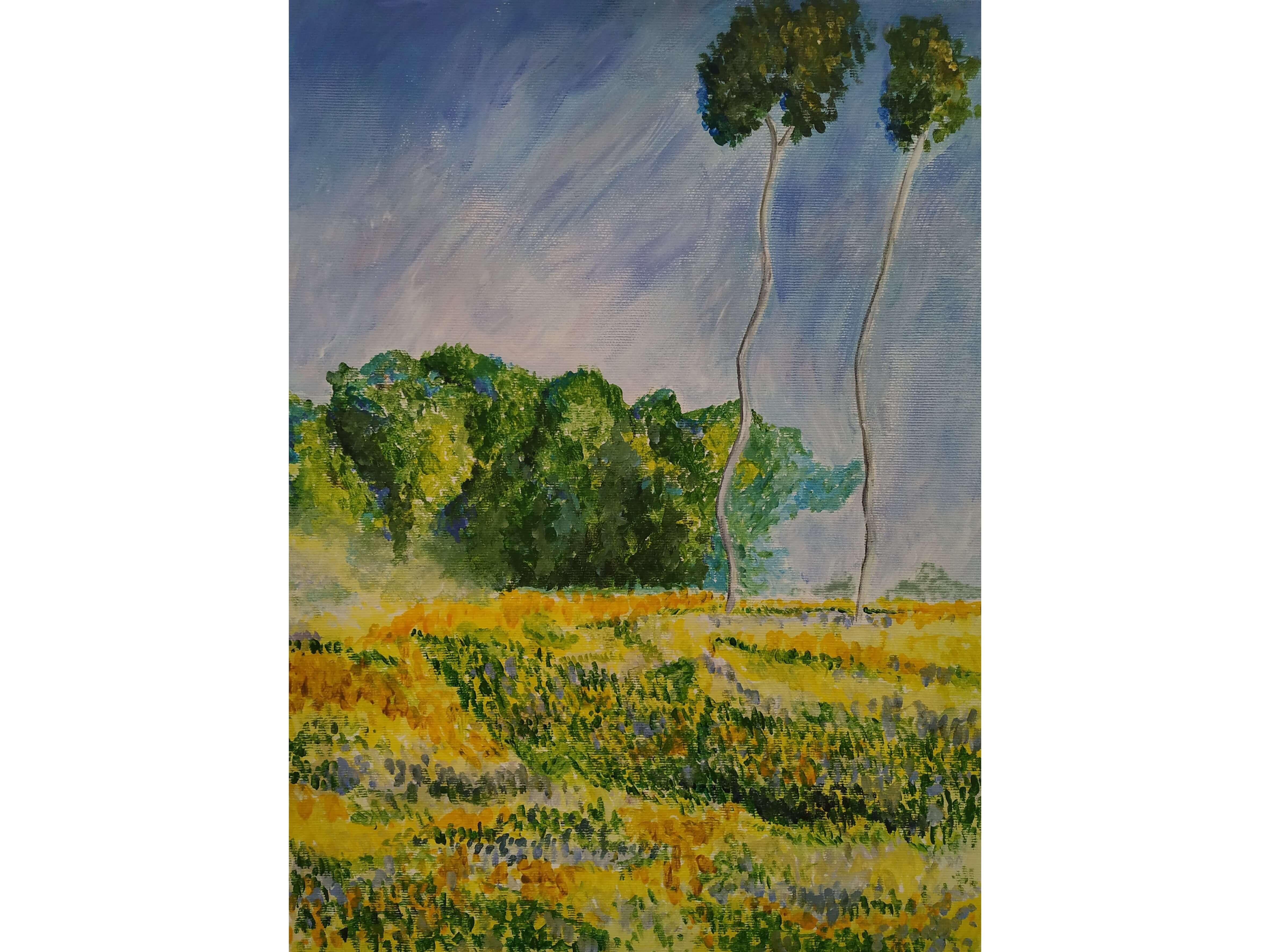 """Релаксиране с чаша вино и рисуване на репродукция по картината """"Пейзаж"""" на Клод Моне – 02.08.2019 г."""