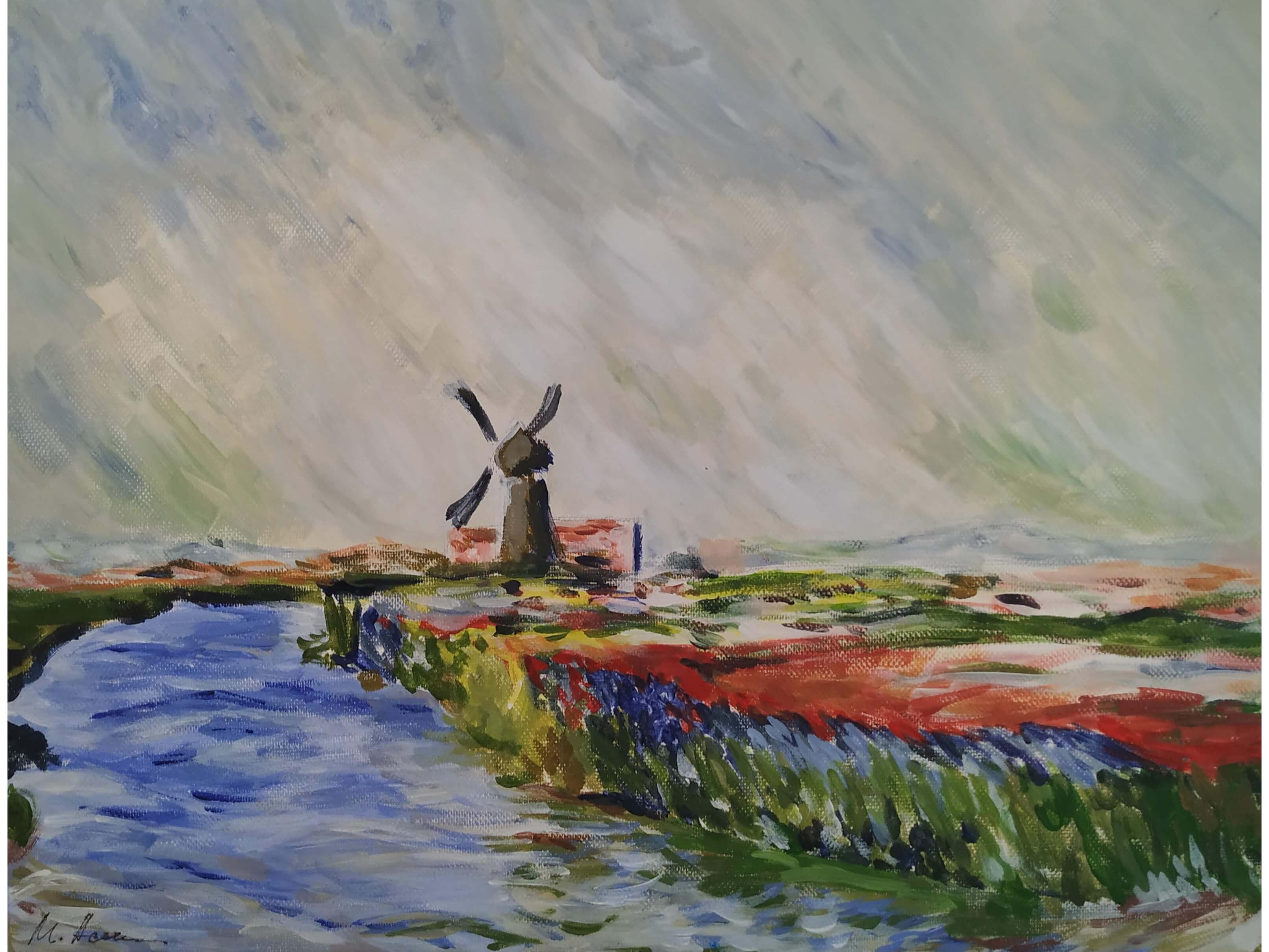 """Вино, забавление и рисуване с акрил """"Поле с лалета в Холандия"""" Клод Моне 16.04.2021 г."""