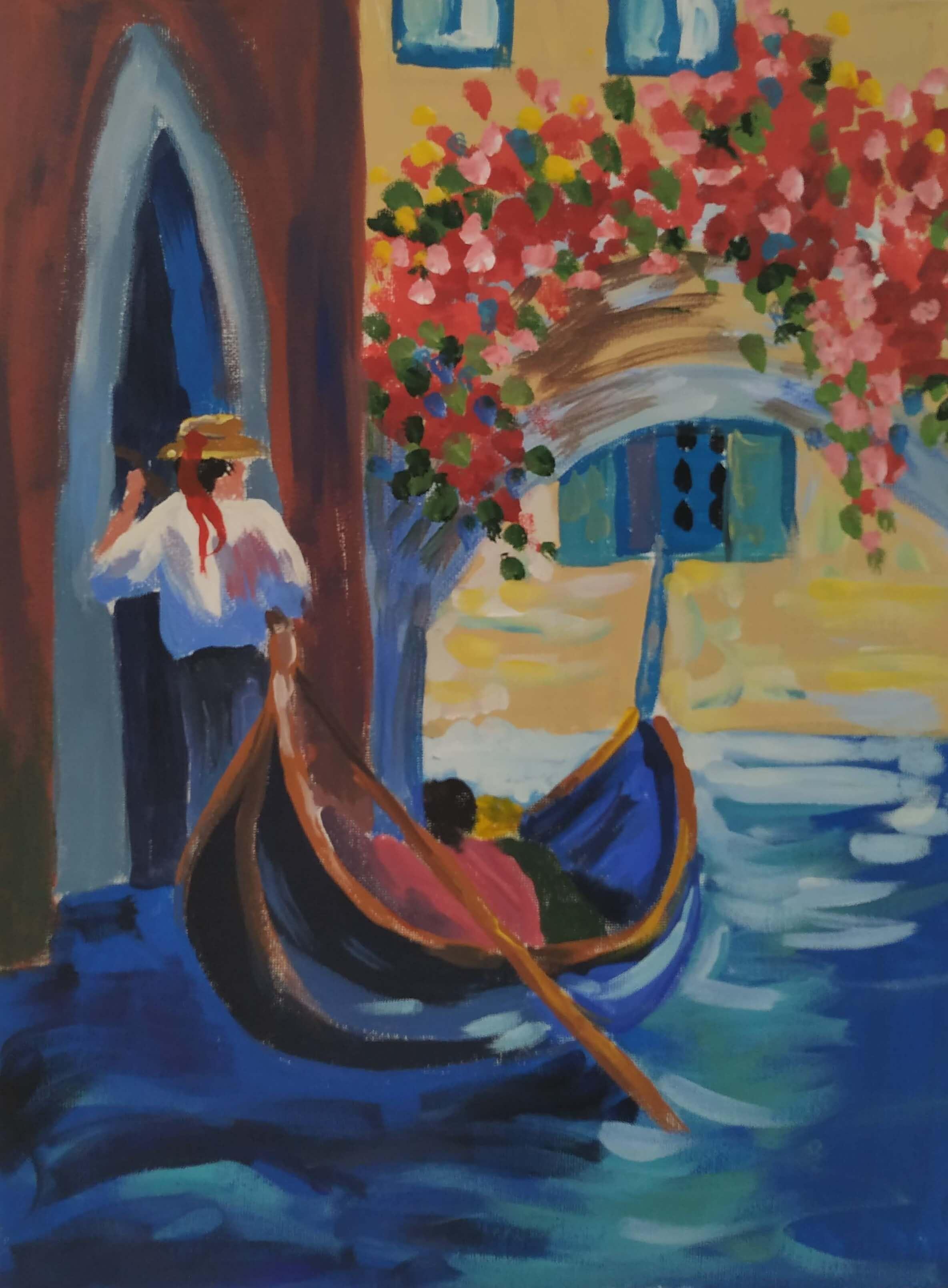 """Релаксиране с чаша вино и рисуване на репродукция по картината """"Романтика във Венеция"""" – 06.11.2019 г."""