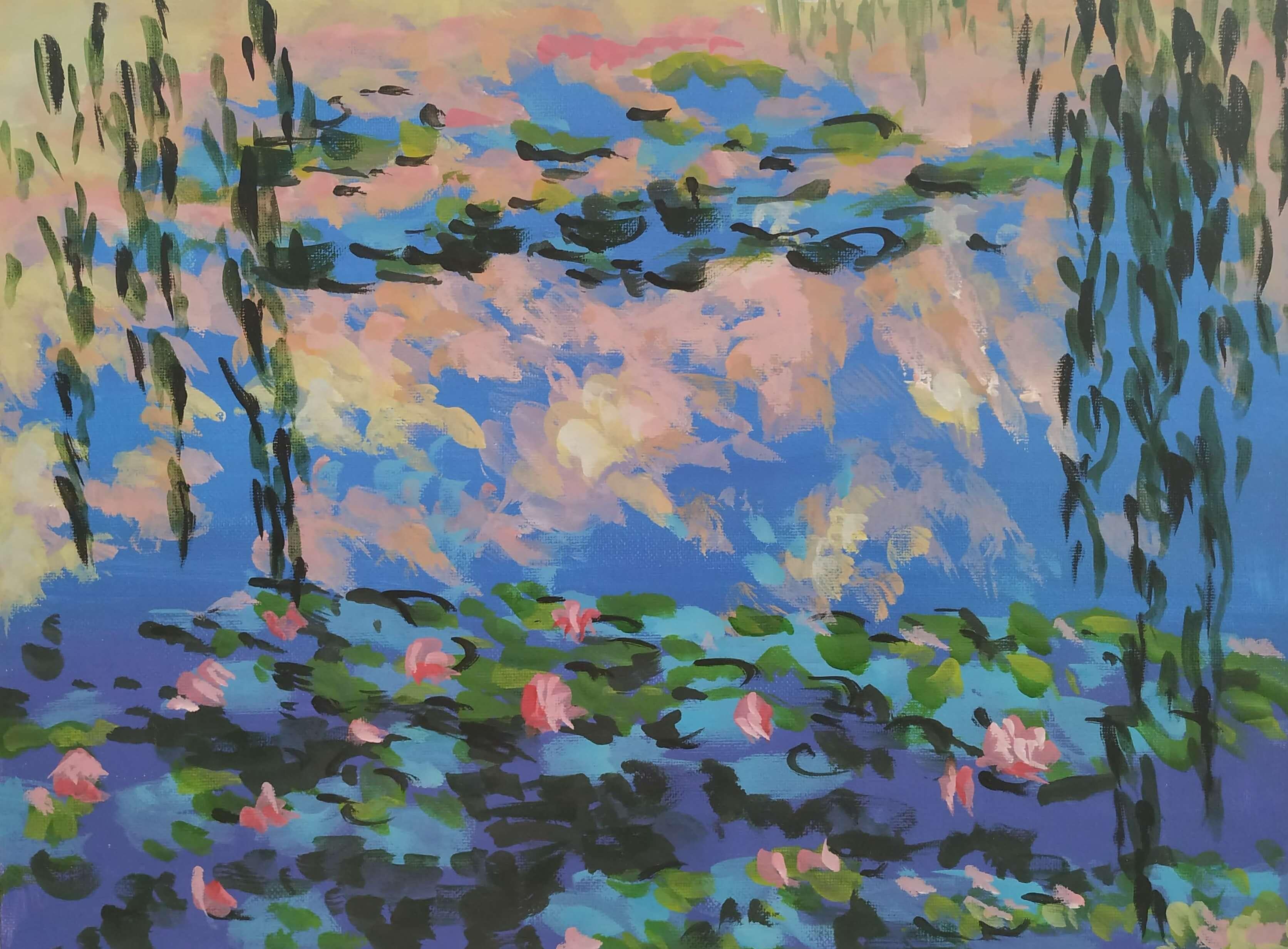 """Релаксиране с чаша вино и рисуване на репродукция по картината """"Водни лилии"""" Клод Моне 19.03.2020 г."""