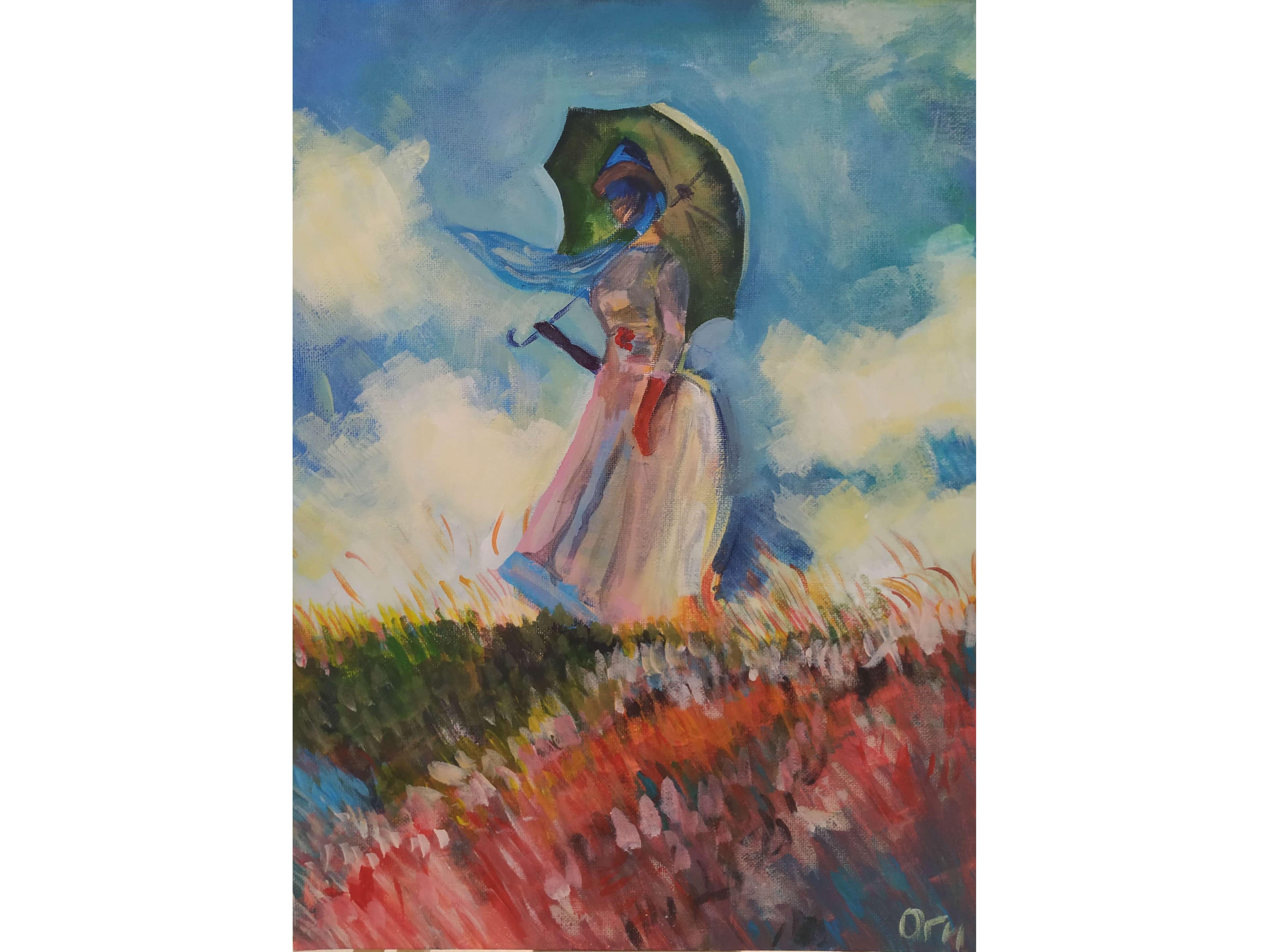 """Вино, забавление и рисуване с маслена живопис  """"Жената с чадър"""" на Клод Моне 19.03.2021 г."""