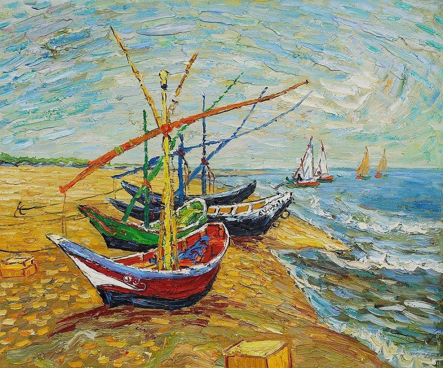 """""""Рибарски лодки"""" Винсент ван Гог – рисуване и забавление  за начинаещи и любители 26.02.2020 г."""