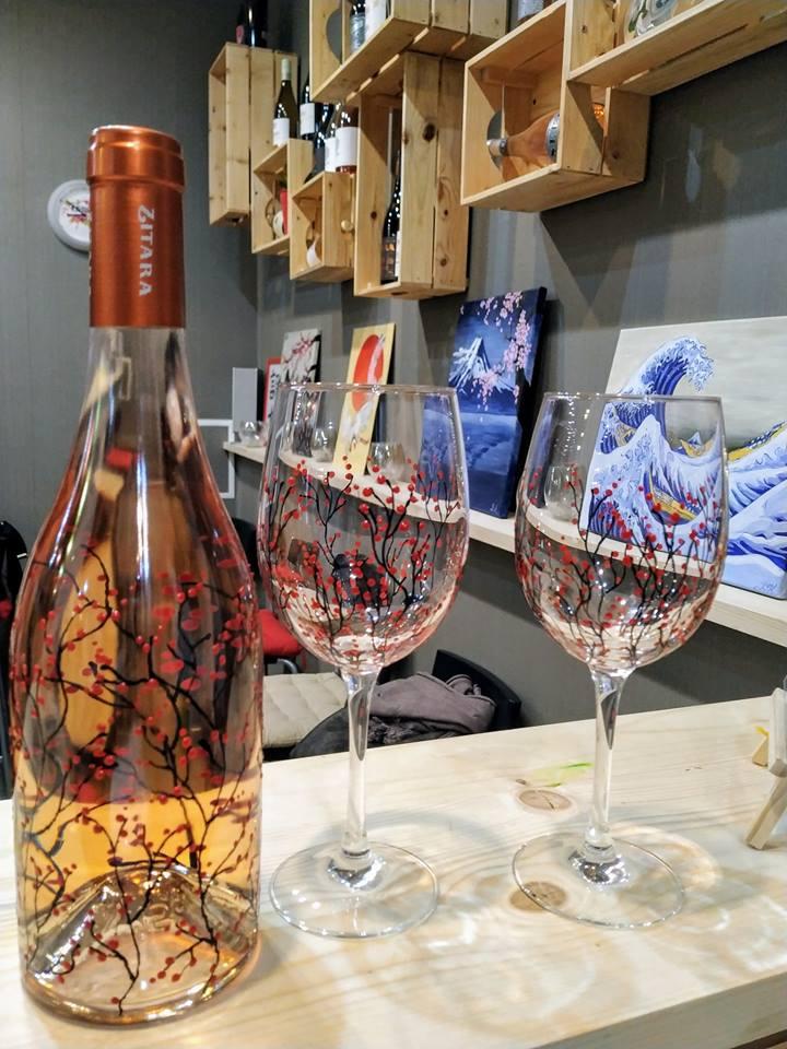 "Рисуване на бутилка вино розе ""Zitara"" 1"