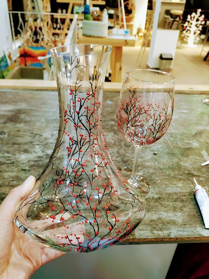"Рисуване на бутилка вино розе ""Zitara"" 2"