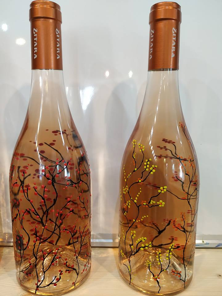 "Рисуване на бутилка вино розе ""Zitara"" 3"