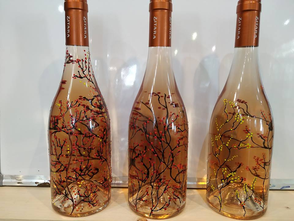 "Рисуване на бутилка вино розе ""Zitara"" 6"