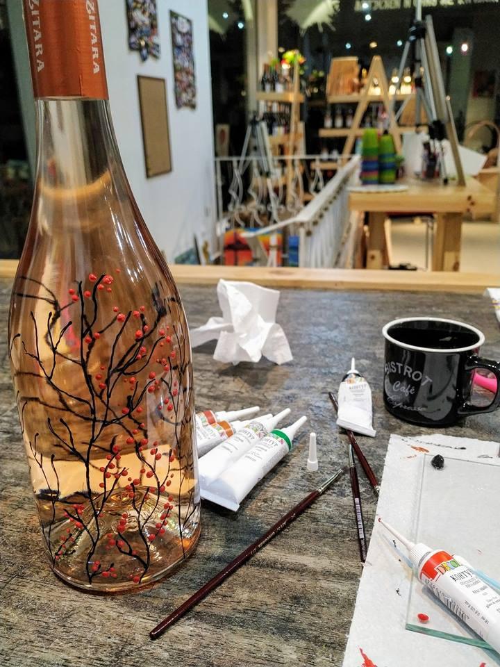"Рисуване на бутилка вино розе ""Zitara"" 5"