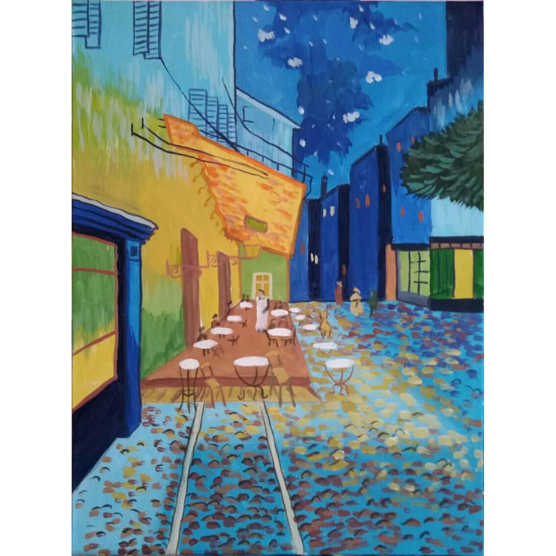 """Вино, забавление и рисуване с акрил """"Тераса кафе през нощта"""" Винсент ван Гог 27.03.21 г."""