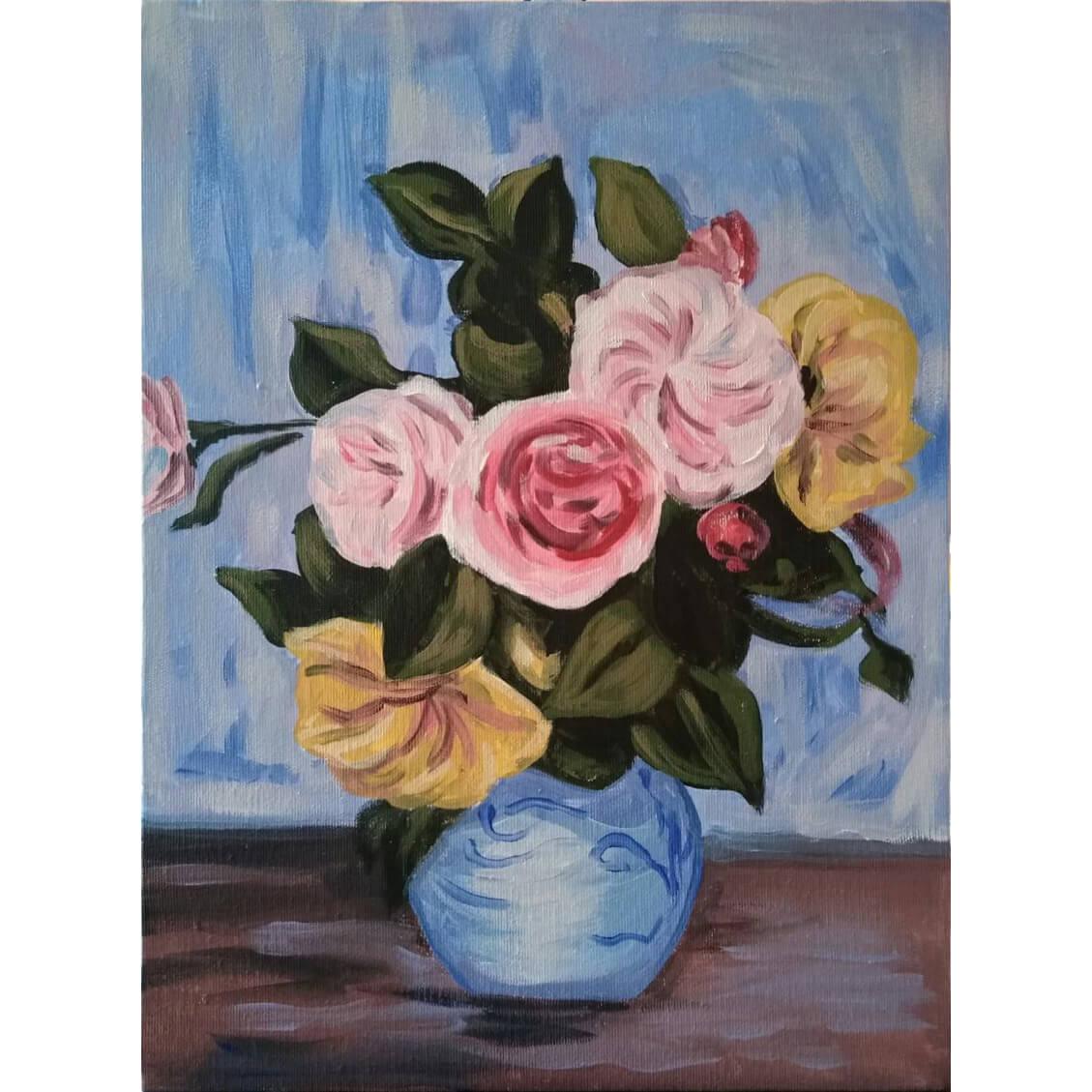 """Релаксиране с чаша вино и рисуване с акрил """"Рози във ваза"""" Пиер Реноар 29.07.2021 г."""