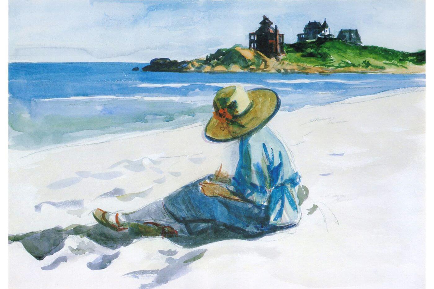 Джо скицира на плажа Едуард Хопър