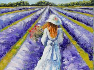Лавандулово поле с момиче