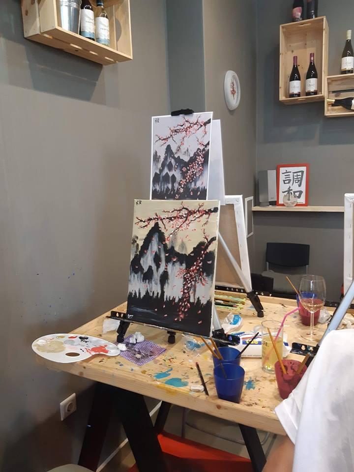 Японска живопис Сакура - черешов цвят (3)
