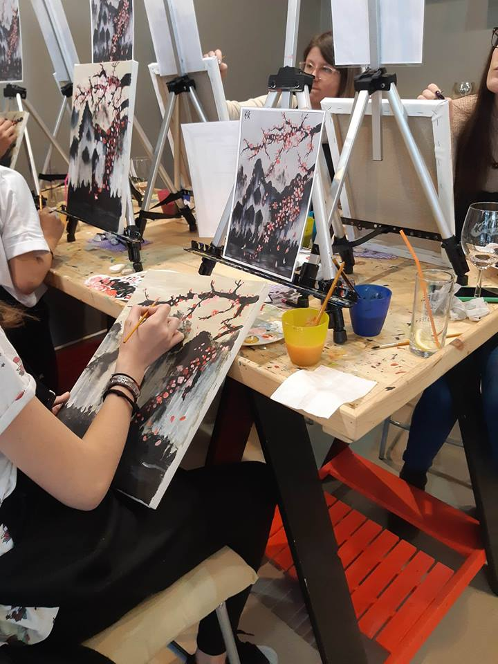 Японска живопис Сакура - черешов цвят (5)