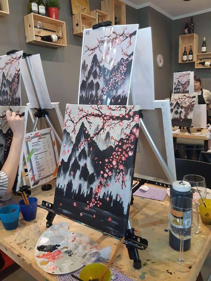 Японска живопис Сакура - черешов цвят (8)