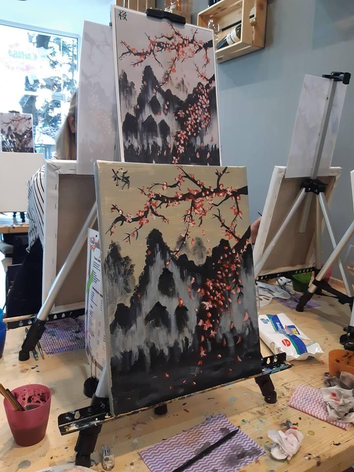 Японска живопис Сакура - черешов цвят (9)