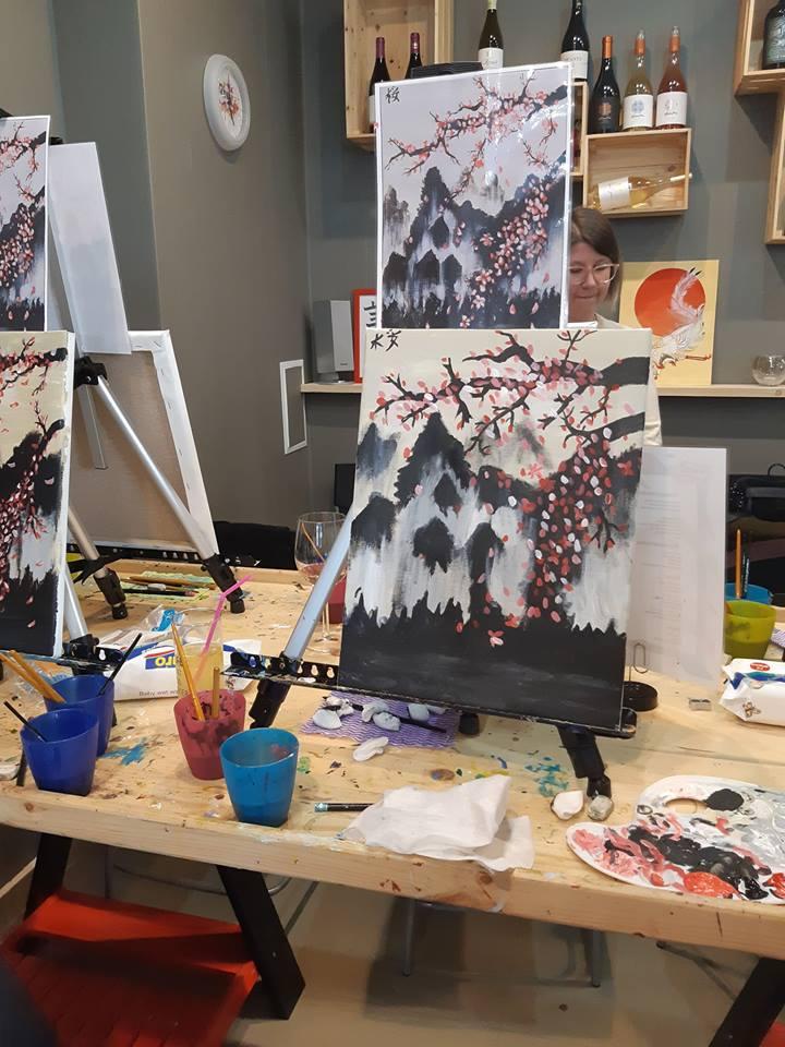 Японска живопис Сакура - черешов цвят