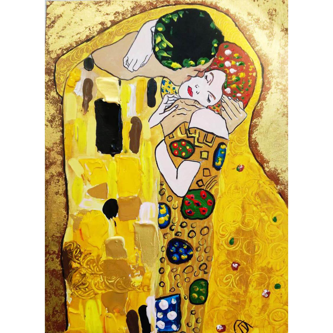 """Релаксиране с чаша вино и рисуване на релефна репродукция по картината """"Целувката"""" на Густав Климт 18.09.2019"""
