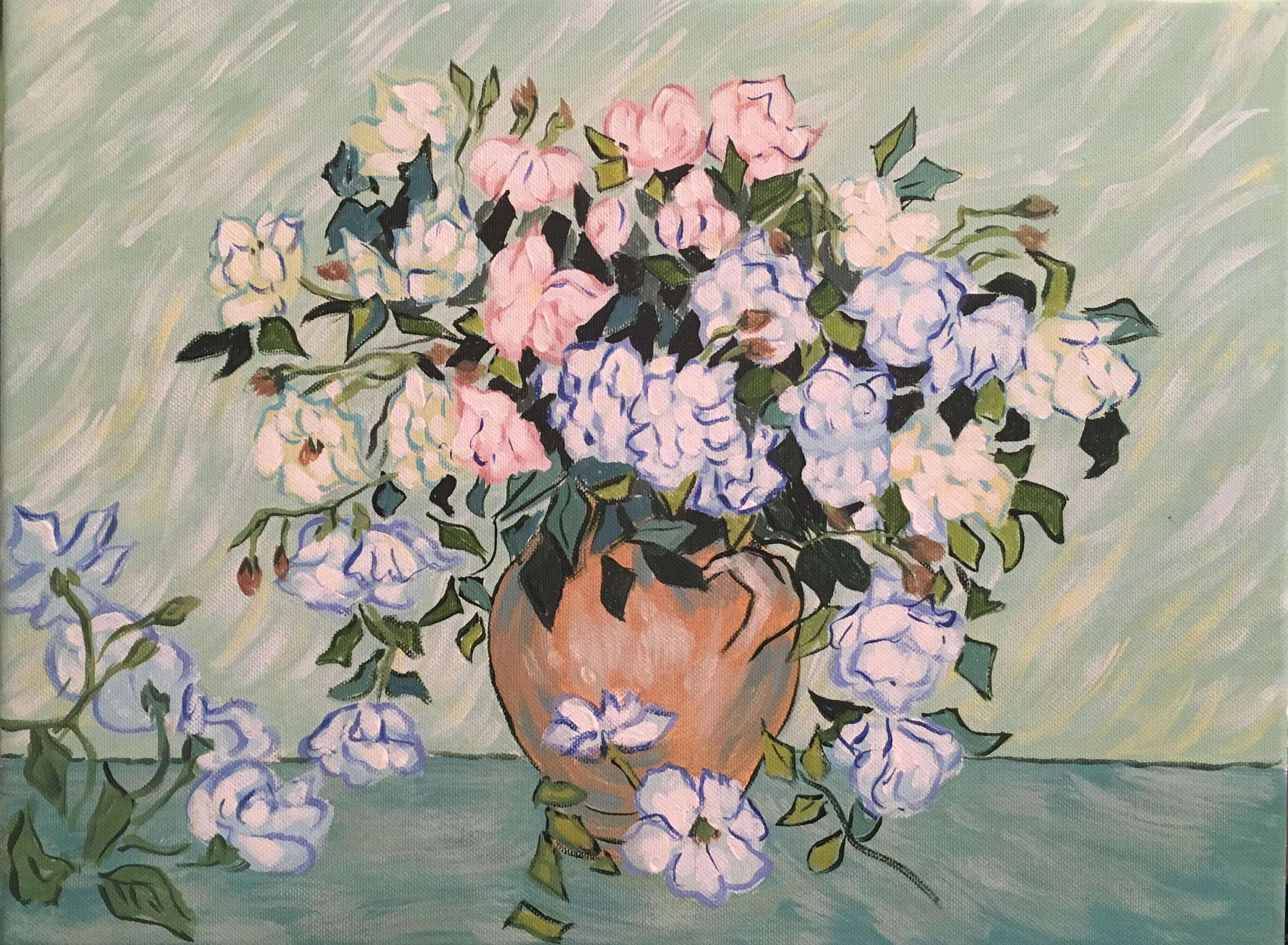 """Вино, забавление и рисуване с акрил  """"Ваза с розови рози """" Винсент ван Гог 25.03.2021 г."""