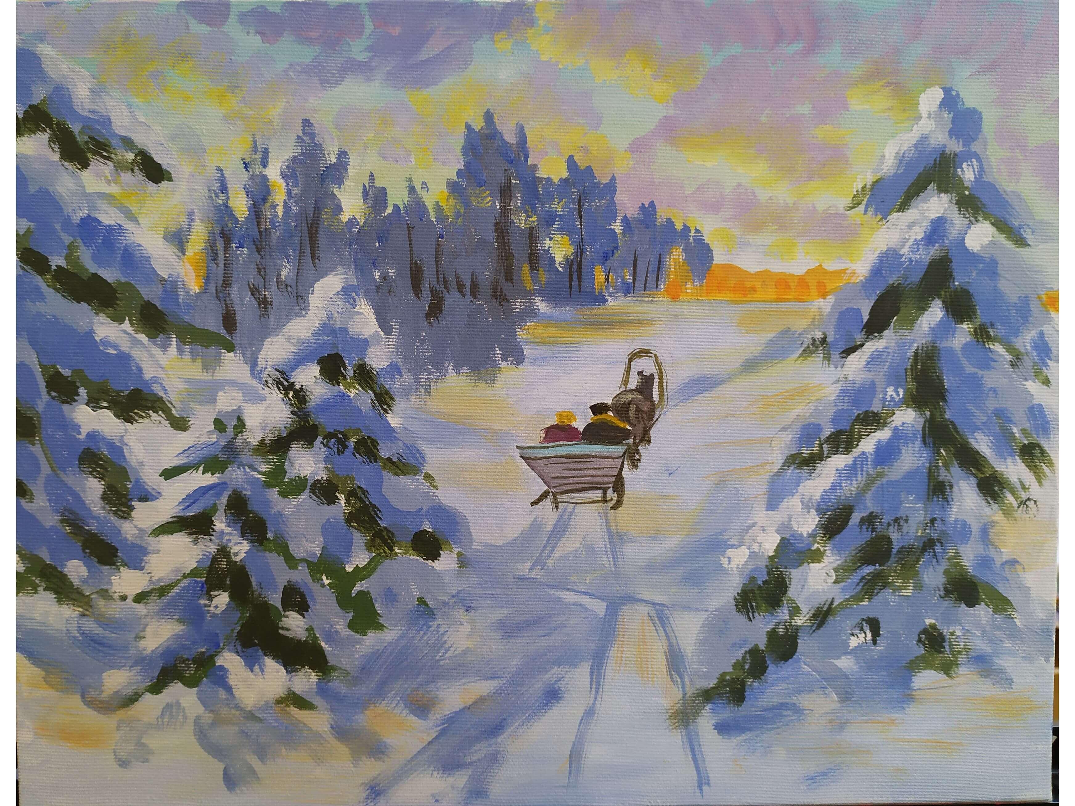 """Коледа с чаша вино и рисуване с акрил  """"Зимна разходка"""" Олга Александровна  10.12.2020 г."""