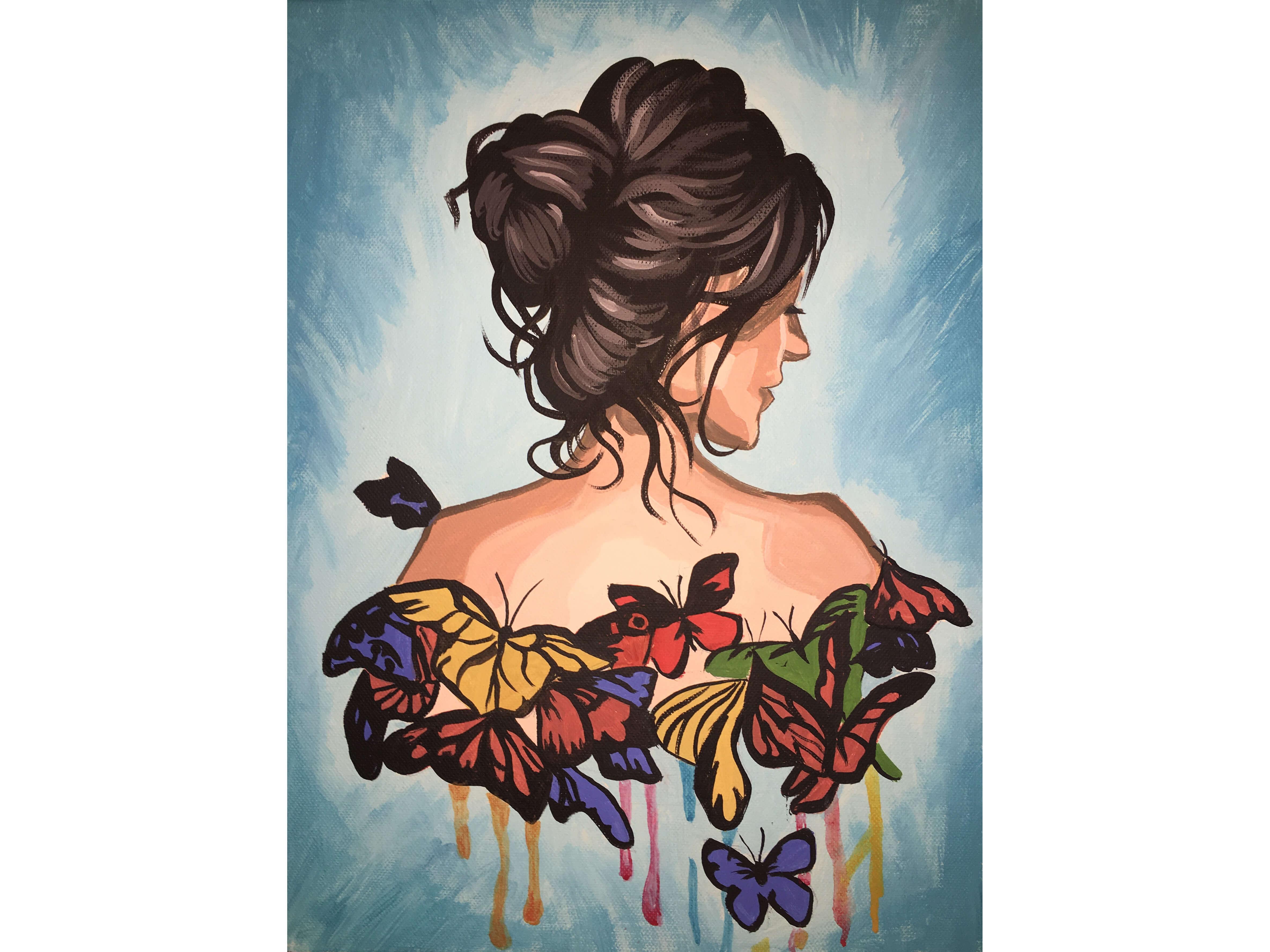 "Вино, забавление и рисуване с акрил в поп арт стил  ""Момиче с пеперуди"" 17.04.2021 г."