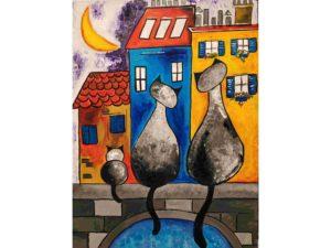 Градски пейзаж с котки
