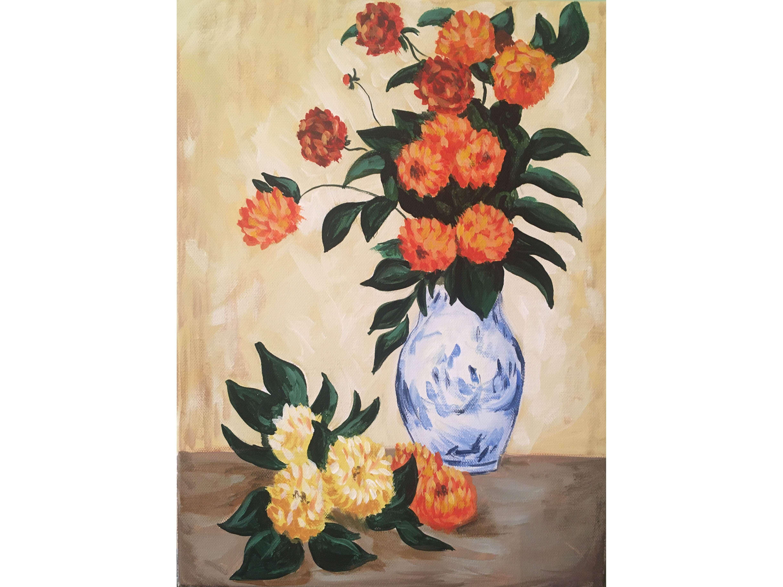 """Релаксиране с чаша вино и рисуване на репродукция по картината """"Далии"""" на Клод Моне 25.06.2020 г."""