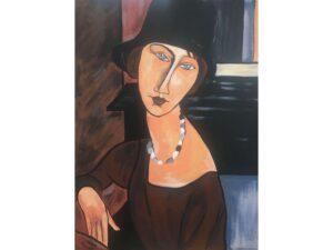 Жана Хебутерн с шапка и колие