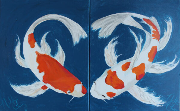 риби кои рисуване по двойки