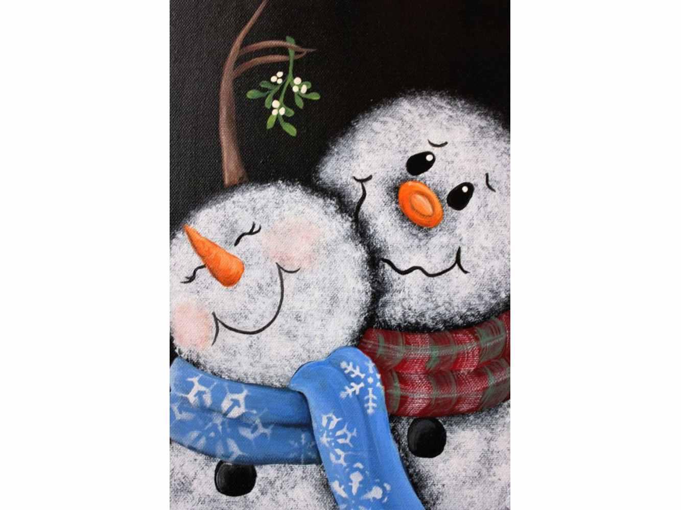 """Коледа с чаша вино и рисуване с акрил """"Влюбени снежковци"""" 19.12.2020 г."""