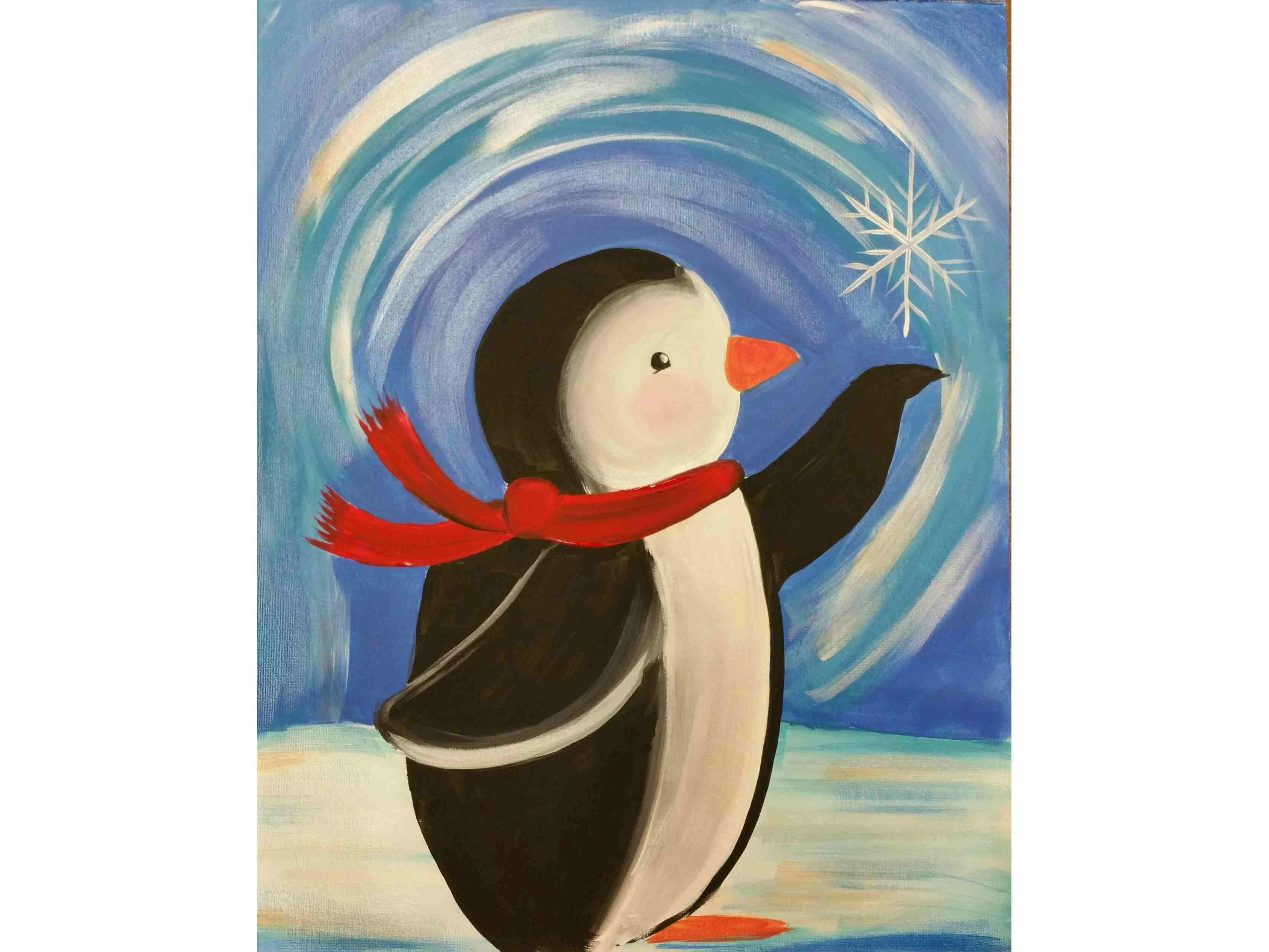 """Детска коледна работилница по рисуване на сюжета """" Пингвин"""". Творческо забавление за семейства 05.12.2020 г."""